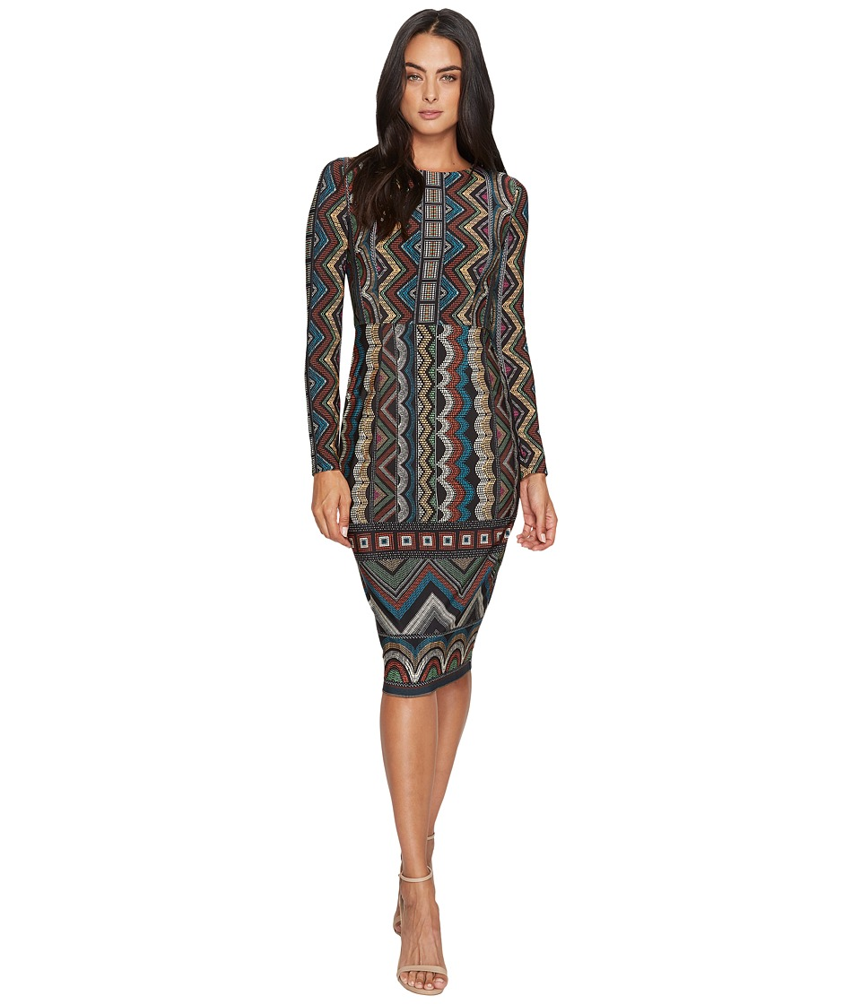 Maggy London Printed Jersey Sheath with Long Sleeve and Border (Black/Multi) Women