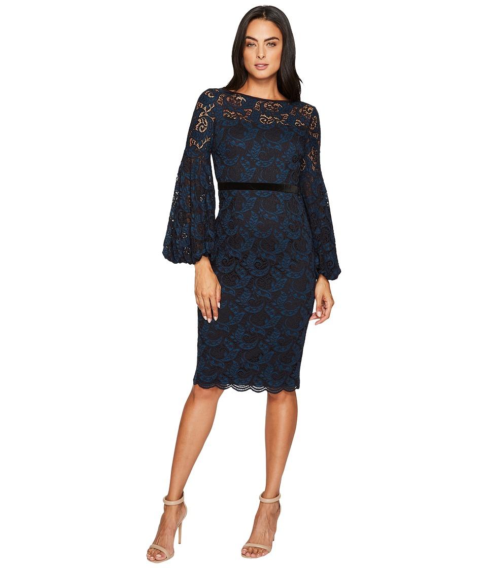 Maggy London Lace Bishop Sleeve Dress (Blue/Black) Women