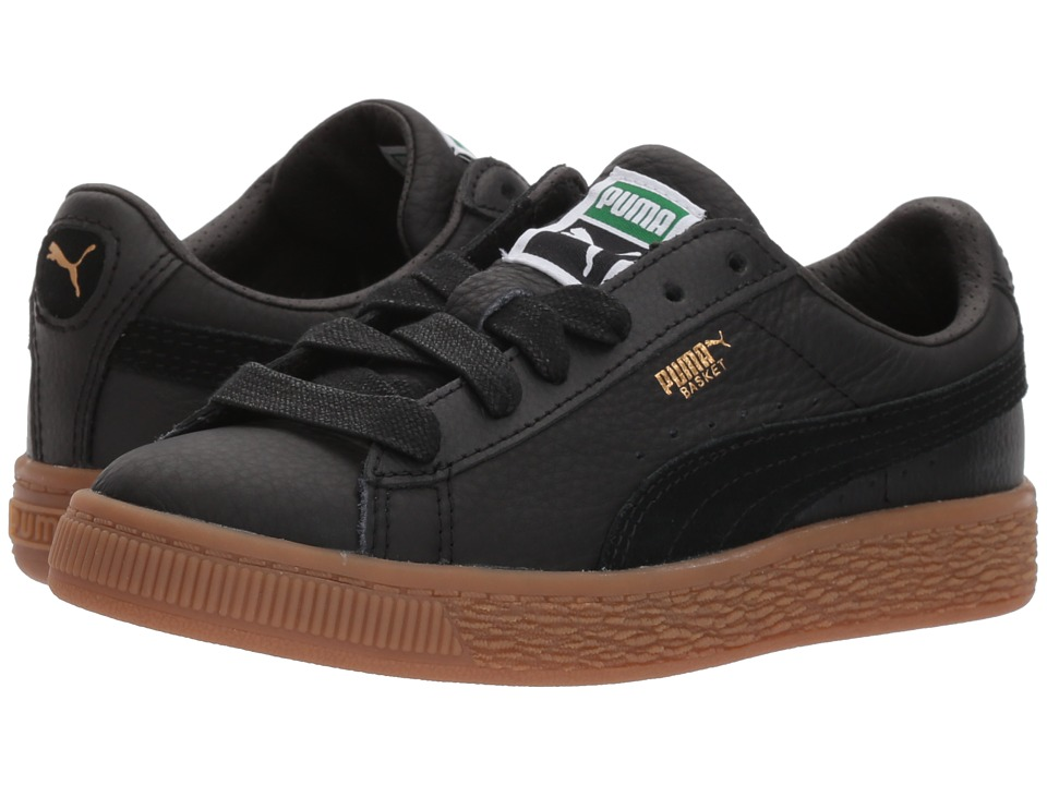 Puma Kids Basket Classic Gum Deluxe (Little Kid) (Puma Black/Puma Black) Kids Shoes