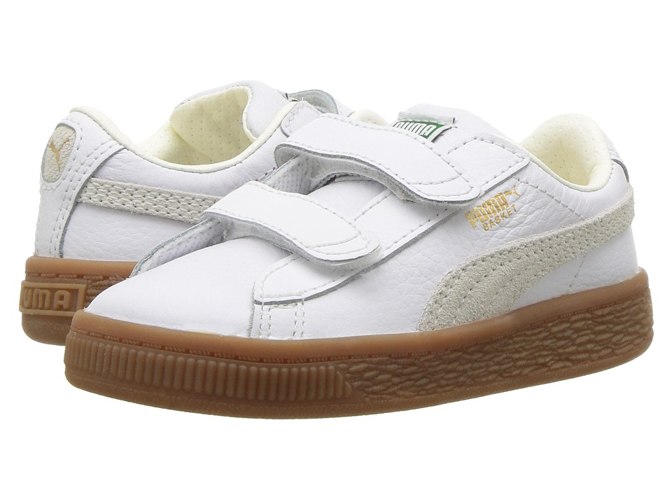 Puma Kids Basket Classic Gum Deluxe (Toddler) (Puma White/Puma White) Kids Shoes