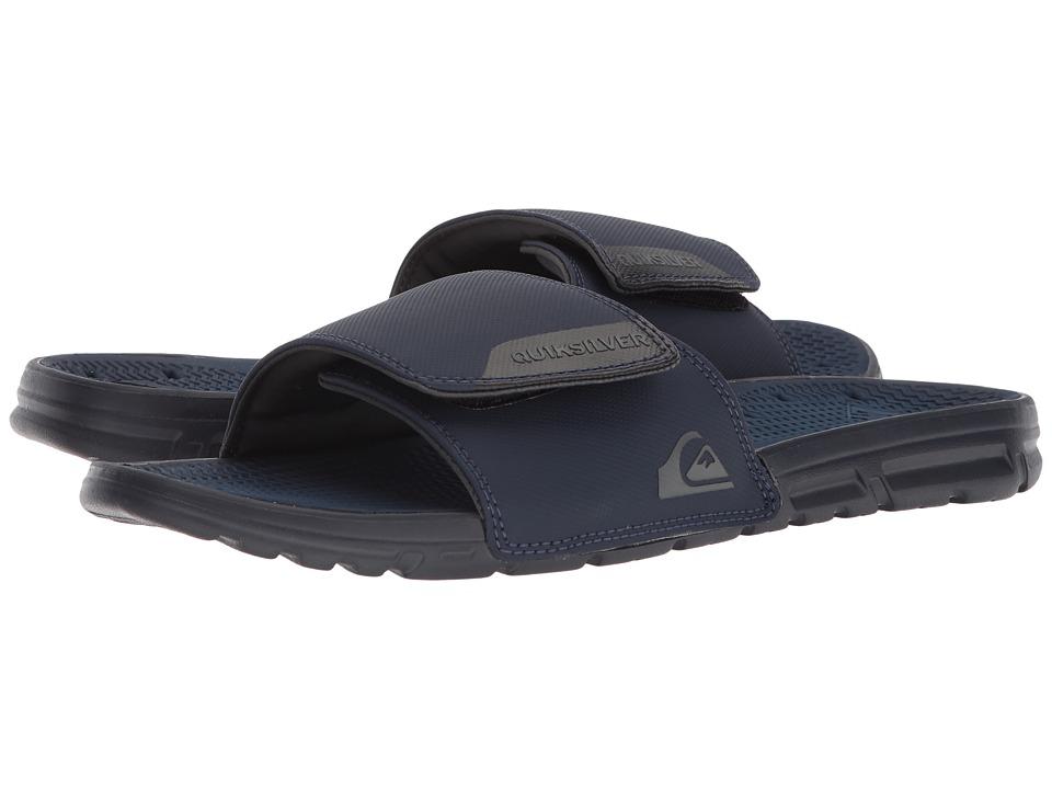 Quiksilver - Amphibian Slide Adjust (Black/Blue/Grey) Men's Sandals