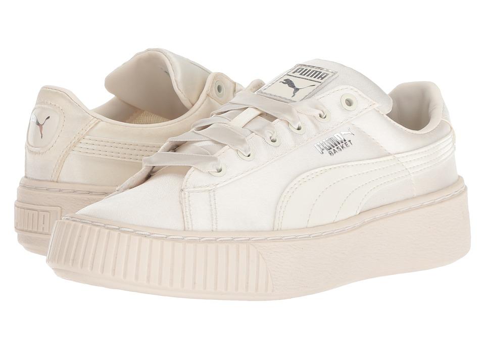 Puma Kids Basket Perform Tween (Little Kid) (Whisper White/Whisper White) Girls Shoes