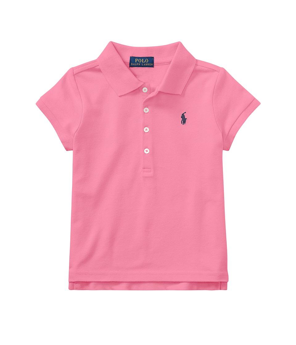 Polo Ralph Lauren Kids - Short Sleeve Mesh Polo Shirt (Little Kids) (Baja Pink) Girls Short Sleeve Knit