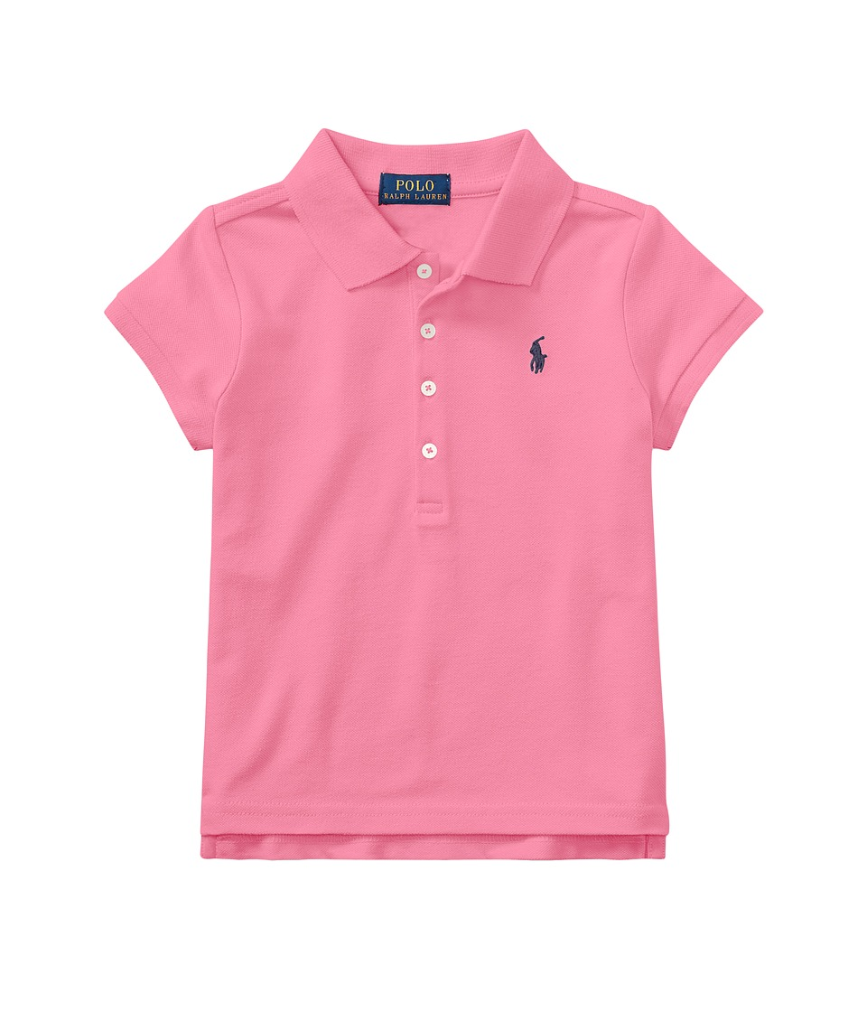 Polo Ralph Lauren Kids - Short Sleeve Mesh Polo Shirt (Toddler) (Baja Pink) Girls Short Sleeve Knit