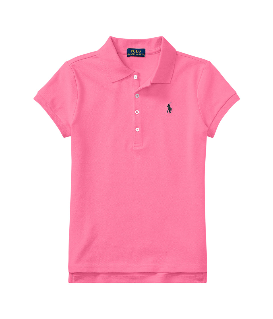 Polo Ralph Lauren Kids - Short Sleeve Mesh Polo Shirt (Little Kids/Big Kids) (Baja Pink) Girls Short Sleeve Knit