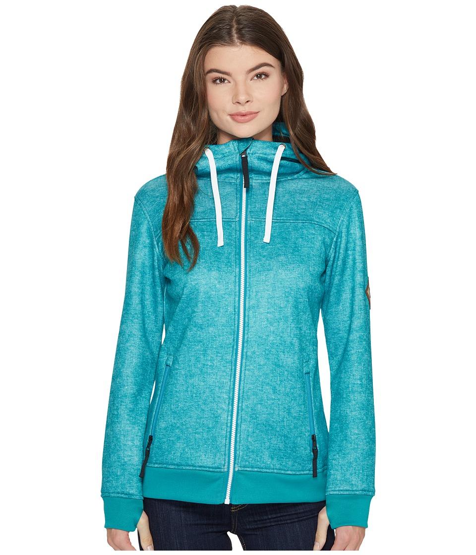 686 Ella Bonded Zip Fleece Hoodie (Teal Printed Melange Texture) Women