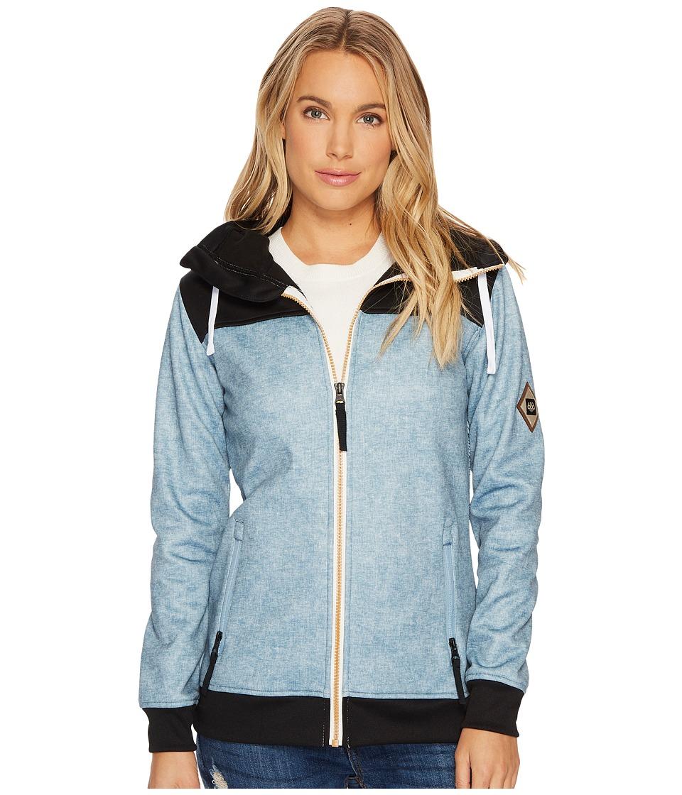 686 Ella Bonded Zip Fleece Hoodie (Light Blue Denim Sublimation) Women