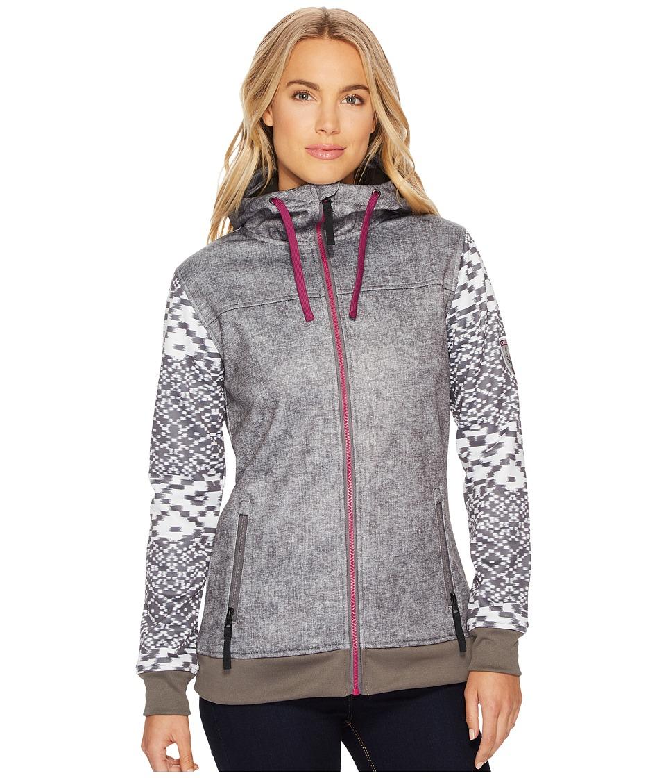 686 Ella Bonded Zip Fleece Hoodie (Charcoal Printed Melange Texture) Women