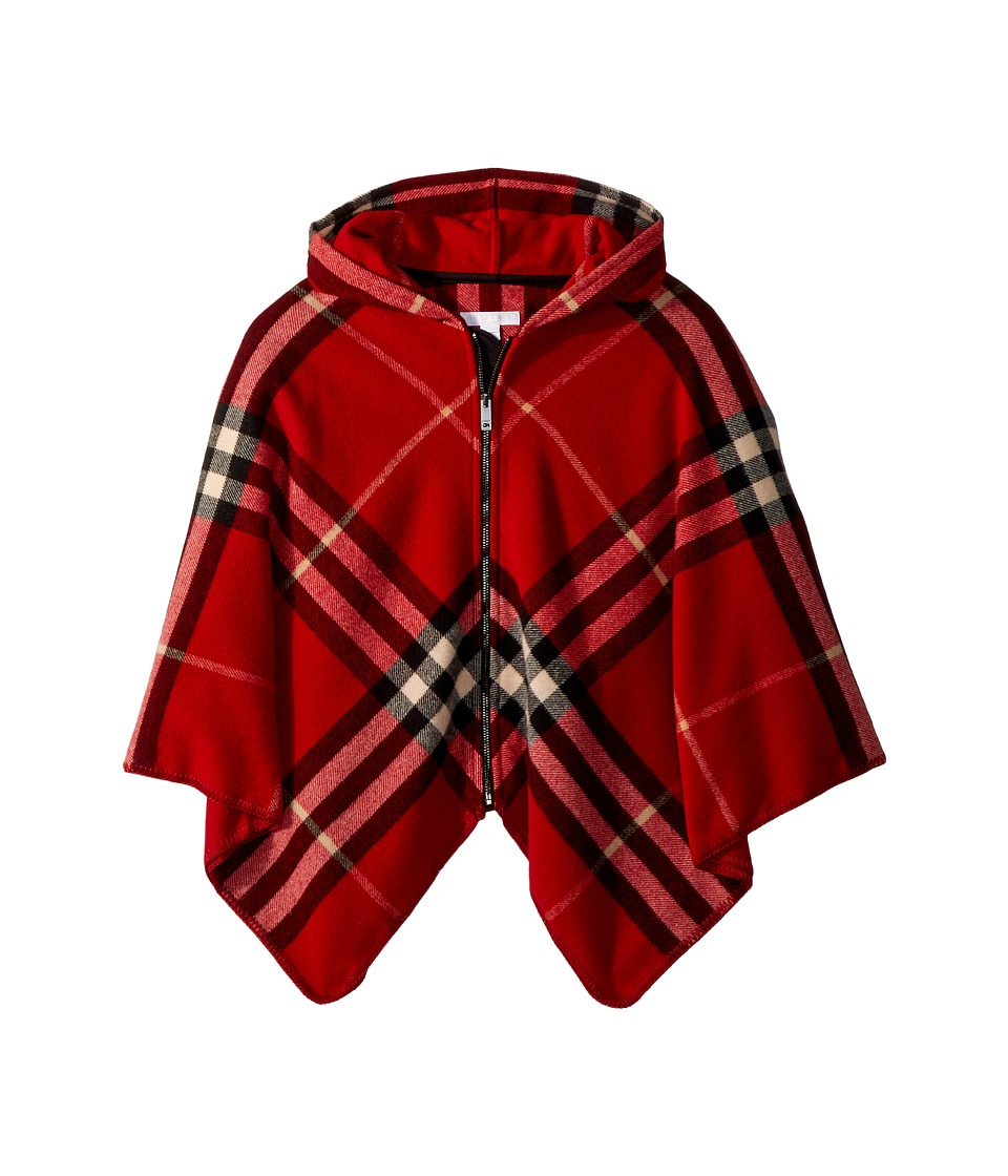 Burberry Kids - Check Zip Cape (Big Kids) (Parade Red) Gi...