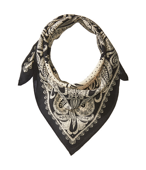 Polo Ralph Lauren Washed Silk Bandana Scarf - Black/Cream
