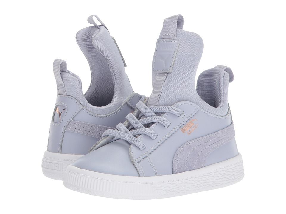 Puma Kids Basket Fierce AC (Toddler) (Icelandic Blue/Rose Gold/PUMA White) Girls Shoes