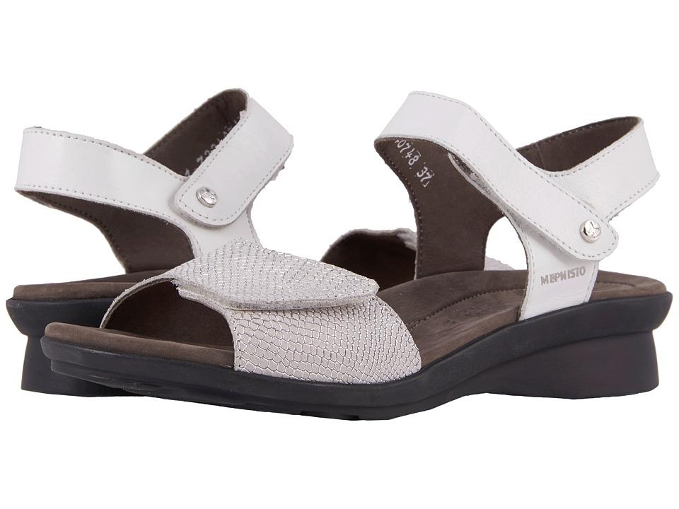 Mephisto - Pattie (White Silk/Silver Python) Womens Shoes