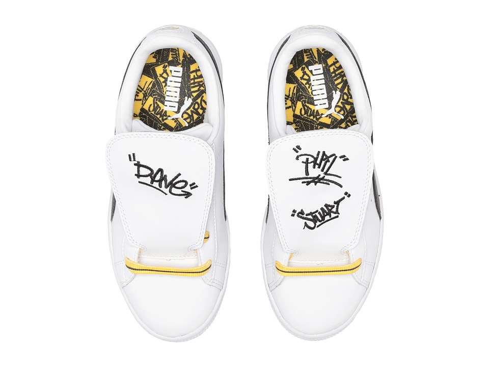 Puma Kids Minions Basket Tongue (Little Kid) (PUMA White/PUMA Black/Minion Yellow) Kids Shoes