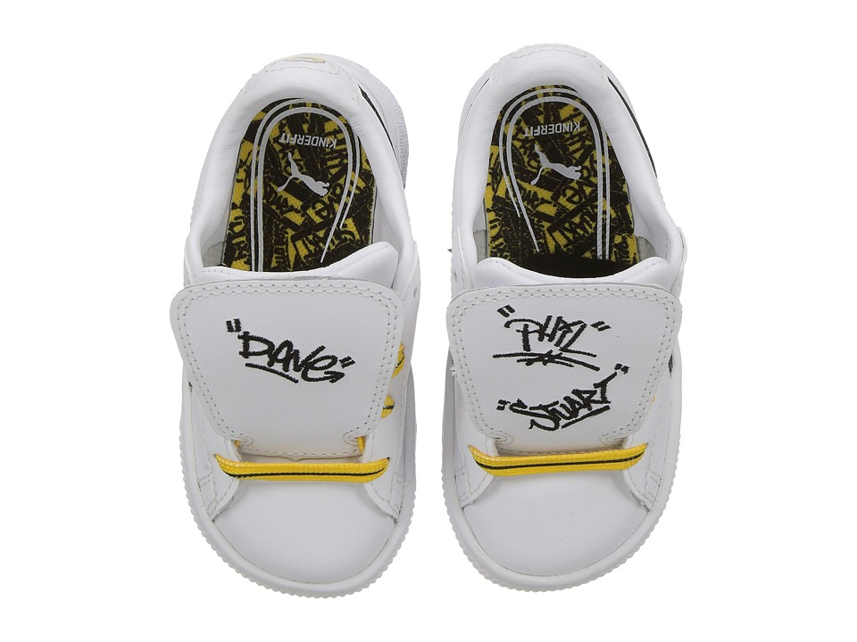 Puma Kids Minions Basket Tongue (Toddler) (PUMA White/PUMA Black/Minion Yellow) Kids Shoes