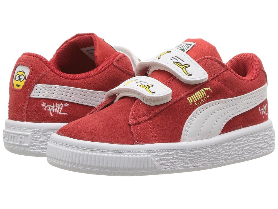 Puma Kids Minions Suede V (Toddler) (High Risk Red/Puma White) Kids Shoes