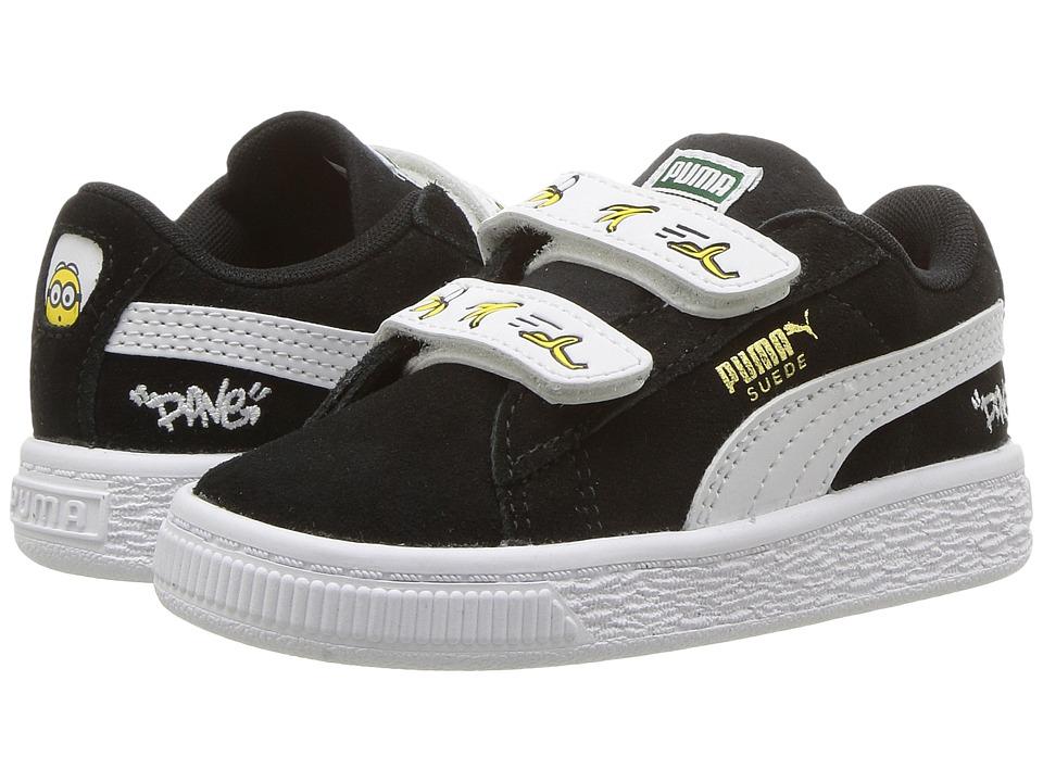 Puma Kids Minions Suede V (Toddler) (Puma Black/Puma White) Kids Shoes