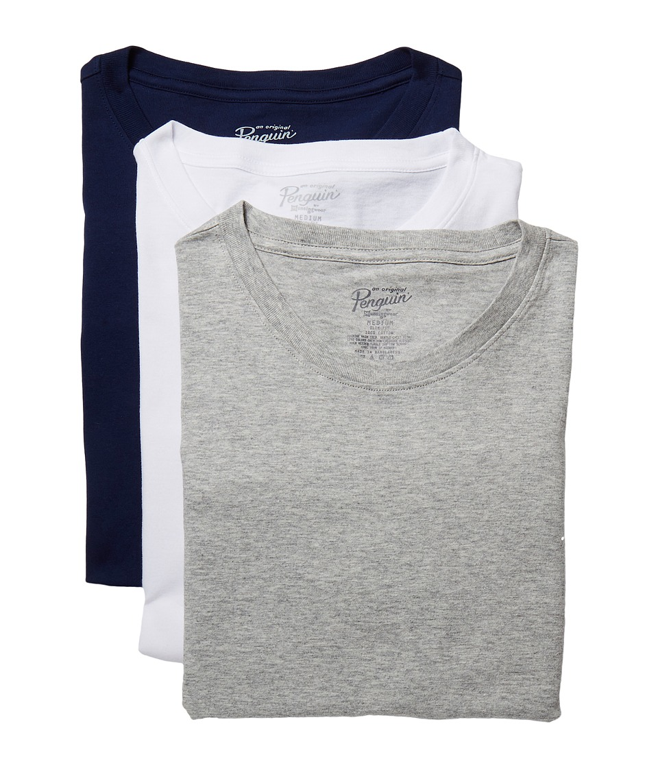Original Penguin - Slim Fit 3-Pack Crew T-Shirt (White/Heather Grey/Navy) Mens Pajama
