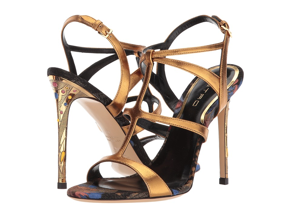 Etro-Metallic Strappy Heel  (Gold) Womens Sandals