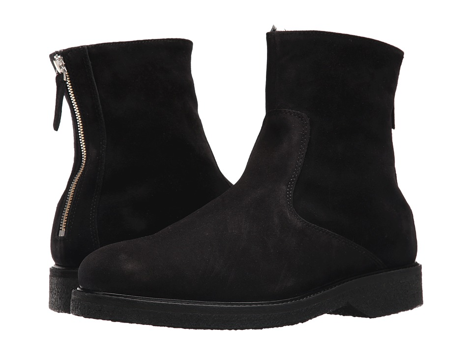 WANT Les Essentiels - Stevens Shearling Lined Crepe Sole Boot (Black Suede) Mens Boots