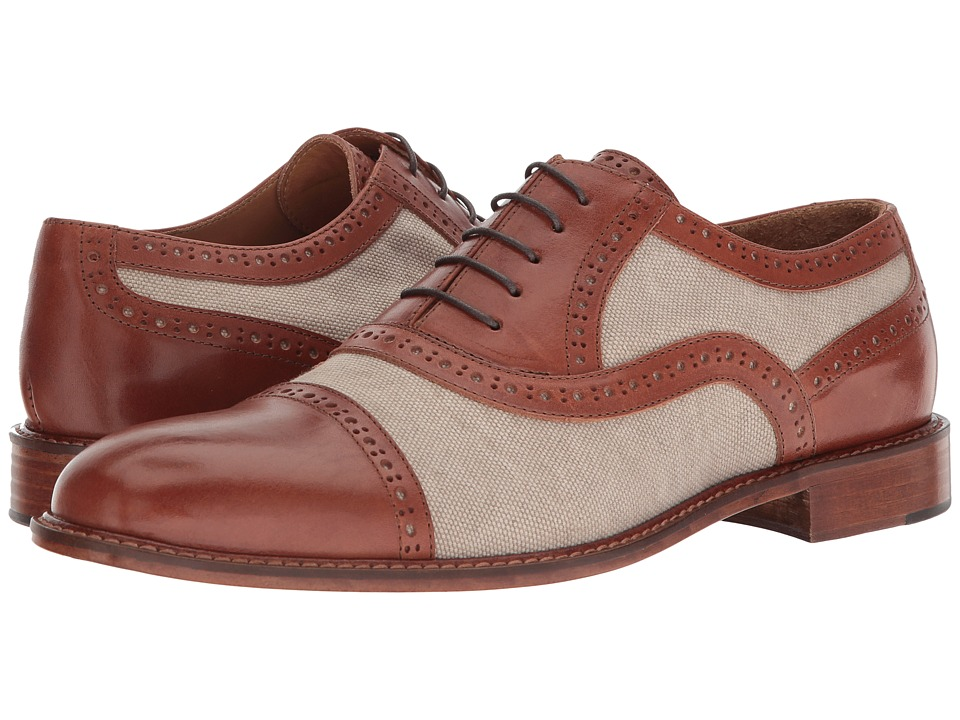 Right Bank Shoe Cotm - Indy Vachetta/Canvas Oxford (Beige) Mens Lace up casual Shoes