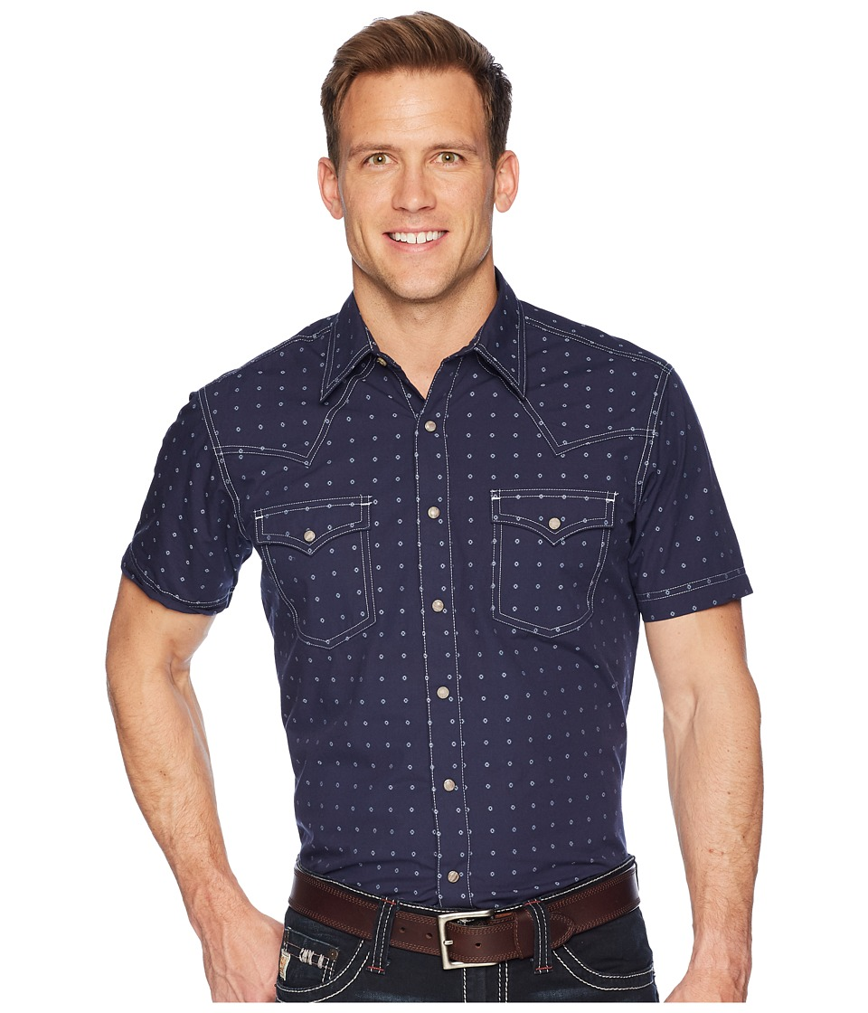 Wrangler Short Sleeve Retro Premium Shirt Dobby (Navy) Men's Clothing