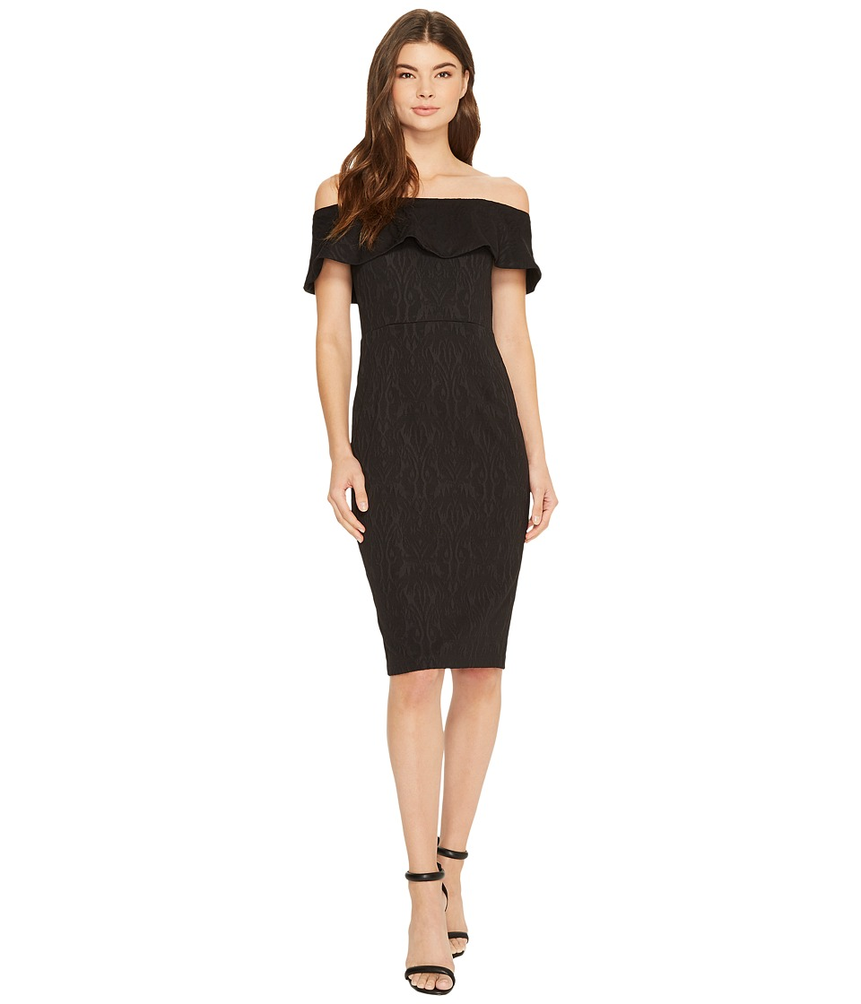 Donna Morgan - Off Shoulder Stretch Brocade Midi Bodycon (Black) Womens Dress