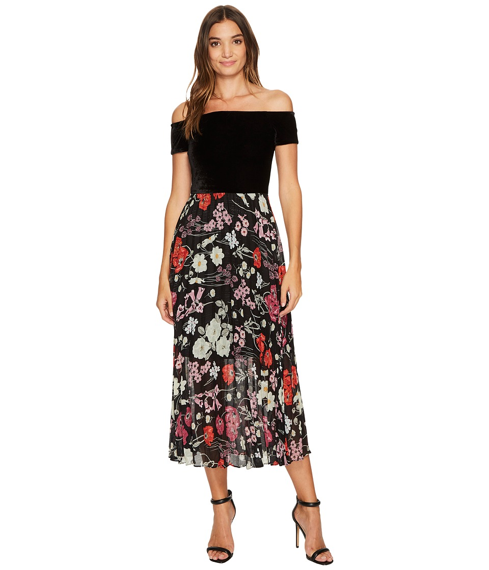 Donna Morgan Off Shoulder Maxi Dress with Pleated Skirt (...