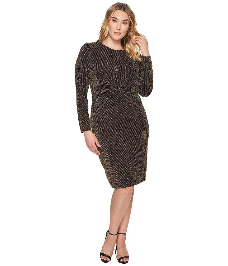 MICHAEL Michael Kors Plus Size Twist Waist Long Sleeve Dress (Black/Gold) Women