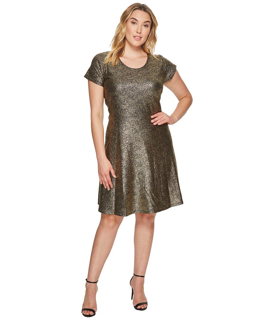 MICHAEL Michael Kors Plus Size Foil Cap Sleeve Dress (Black/Gold) Women