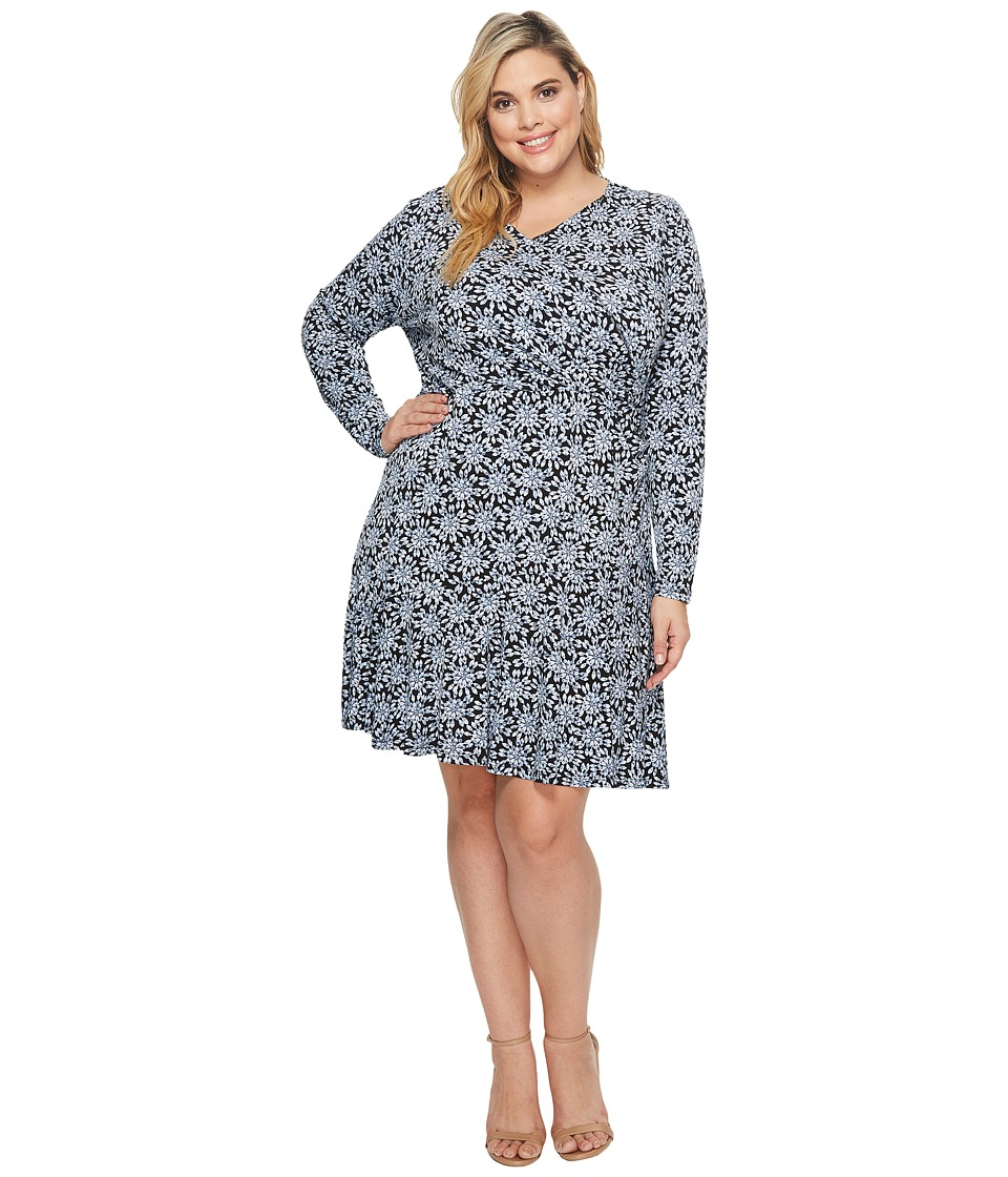 MICHAEL Michael Kors Plus Size Long Sleeve Wrap Flounce Dress (Cloud/Black) Women