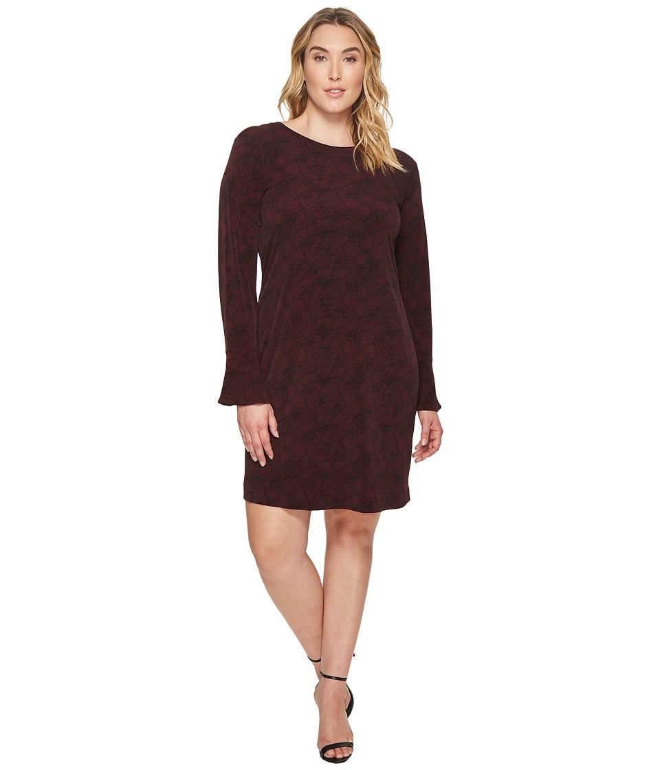 MICHAEL Michael Kors Plus Size Floral Mesh Flounce Dress (Merlot/Black) Women