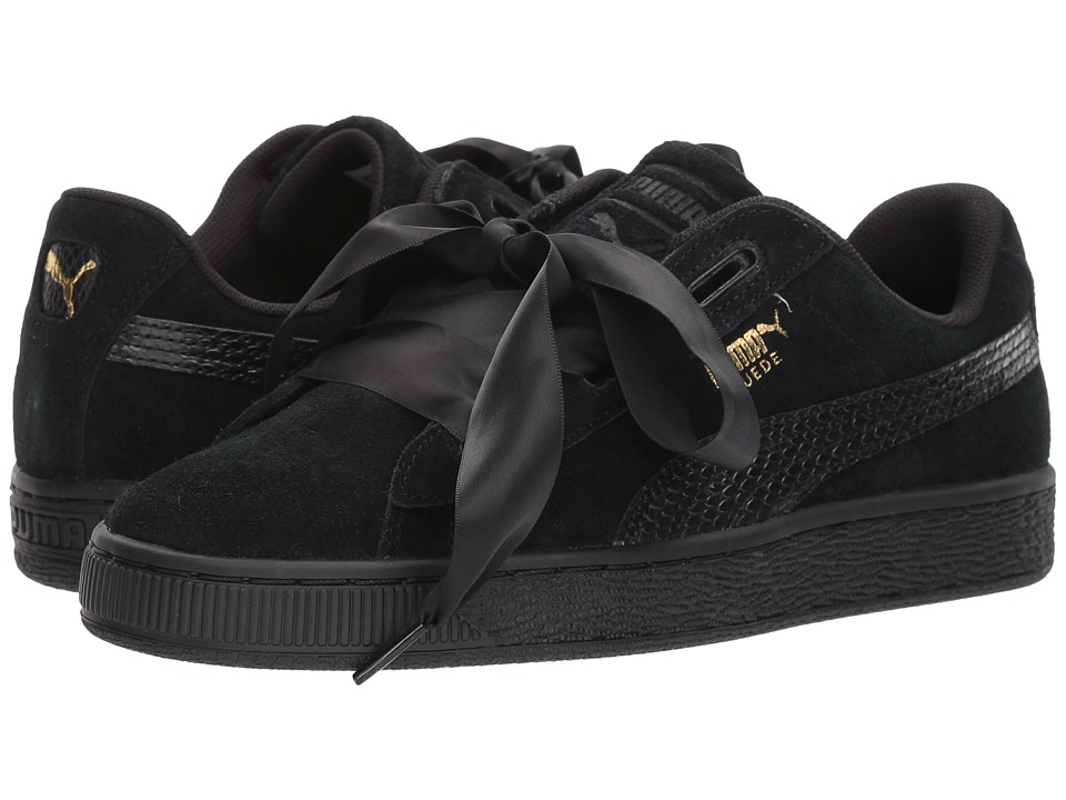 Puma Kids Suede Heart SNK (Big Kid) (Puma Black/Puma Black) Girls Shoes