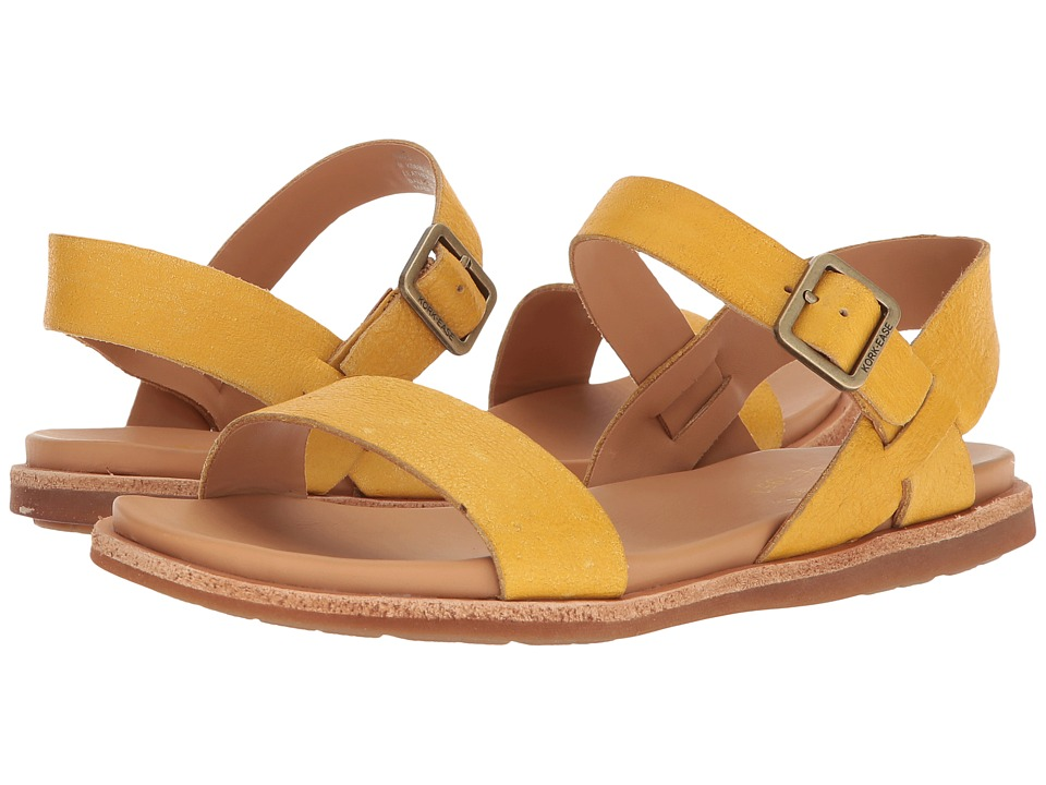 Vintage Sandals | Wedges, Espadrilles – 30s, 40s, 50s, 60s, 70s Kork-Ease - Yucca Yellow Full Grain Leather Womens Sandals $125.00 AT vintagedancer.com