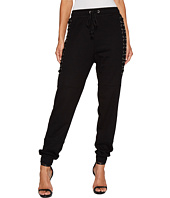 ROMEO & JULIET COUTURE - Knit Jogger Pants with Lace-Up Cord Detail