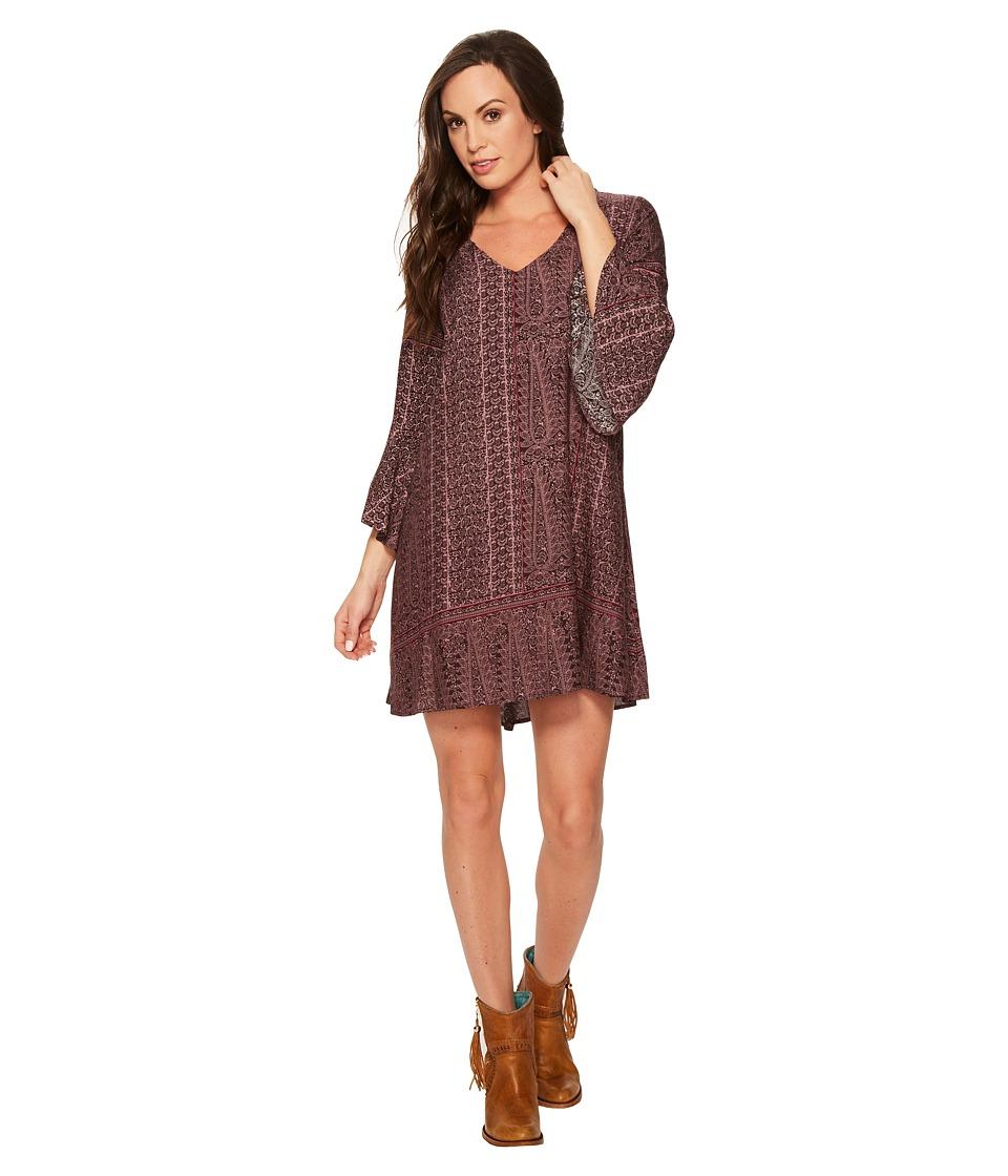 Roper 1383 Grape Vine Print Rayon Dress (Purple) Women
