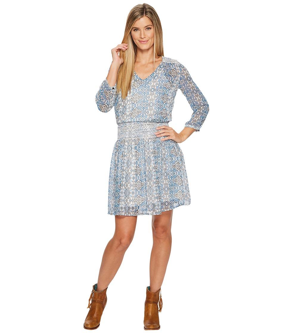 Roper 1290 Blue Tribal Print Georgette Dress (Blue) Women