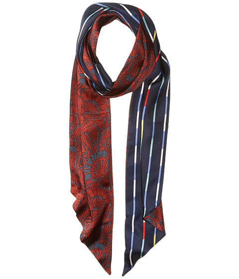BCBGMAXAZRIA Reversible Quilted Floral Stripe Scarf - Rustic Red