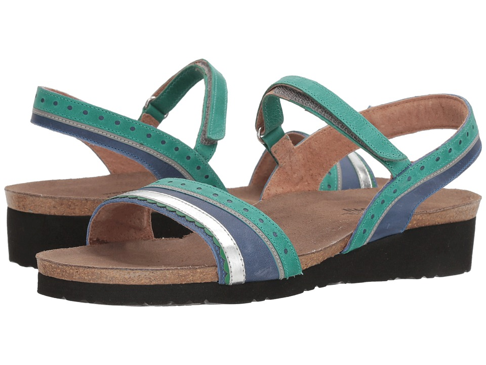Naot Beverly (Oily Emerald Nubuck/Oily Blue Nubuck/Silver Mirror Leather) Women's Shoes