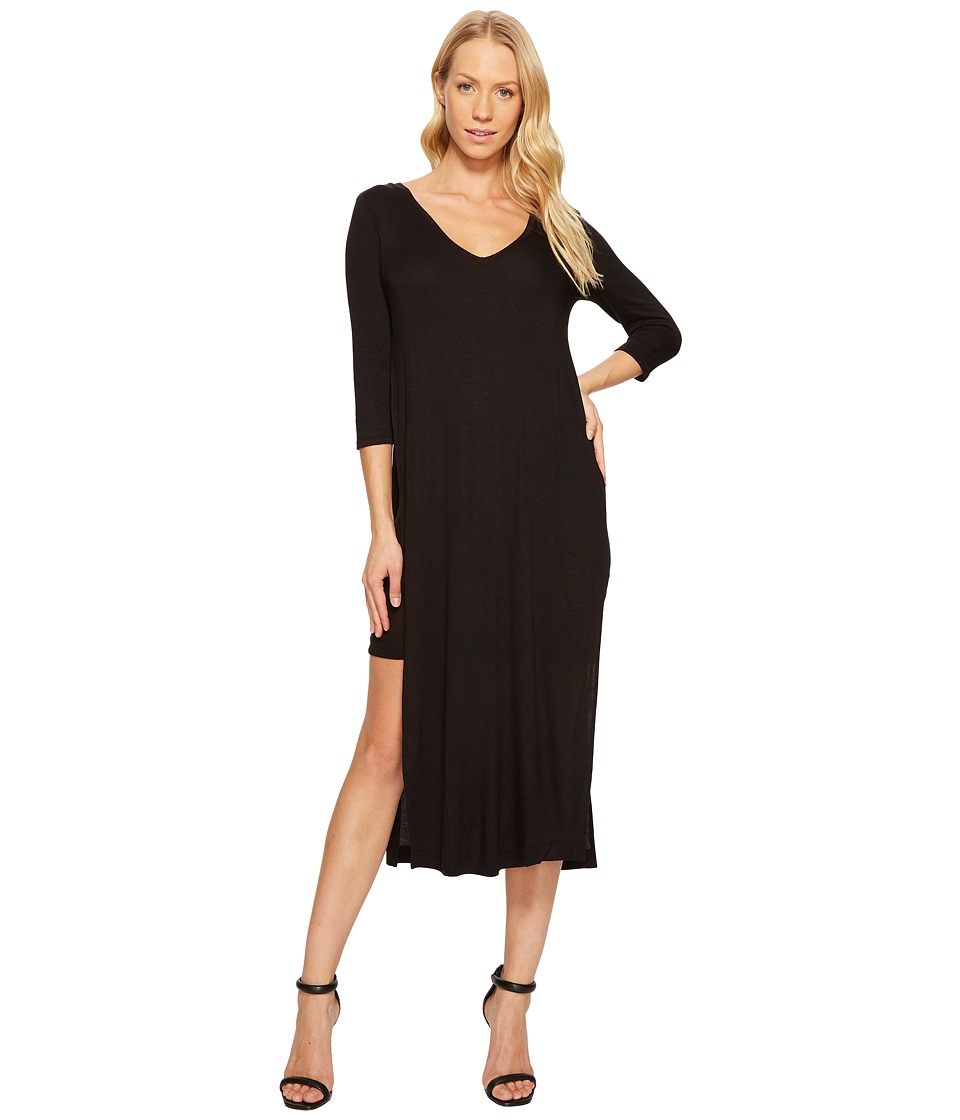 Three Dots Double V Hi Low Slit Dress (Black) Women