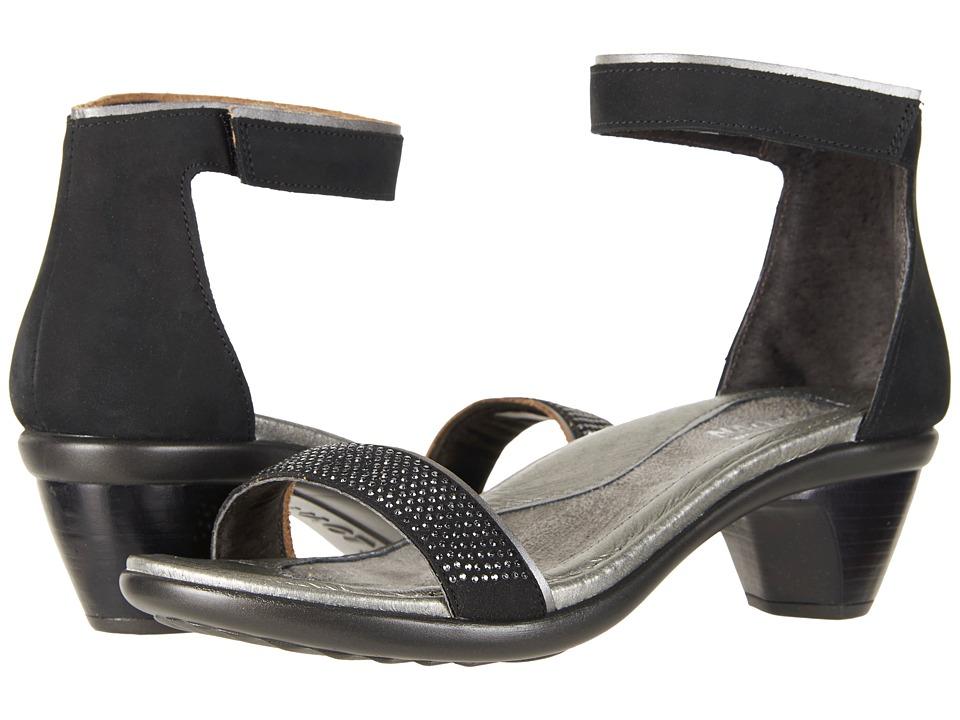 Naot Progress (Black Velvet Nubuck/Mirror Leather/Metal Rivets) Women's Shoes