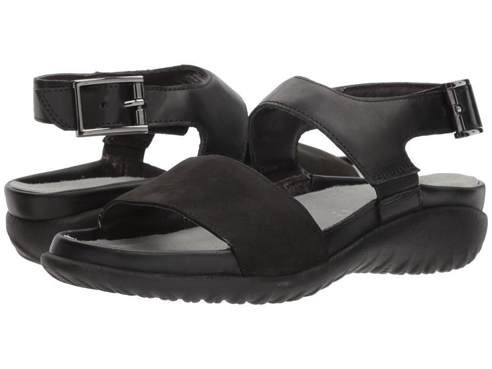 Naot Haki (Black Velvet Nubuck/Black Raven Leather/Sterling Leather) Women's Shoes