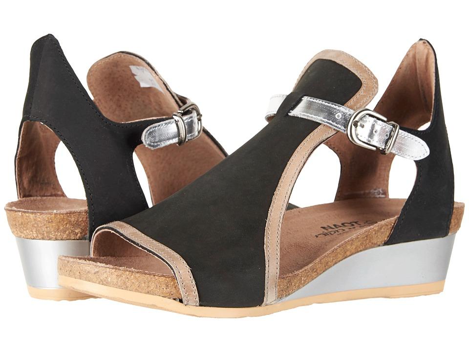 Naot Fiona (Black Velvet Nubuck/Khaki Beige Leather/Silver Mirror Leather) Sandals
