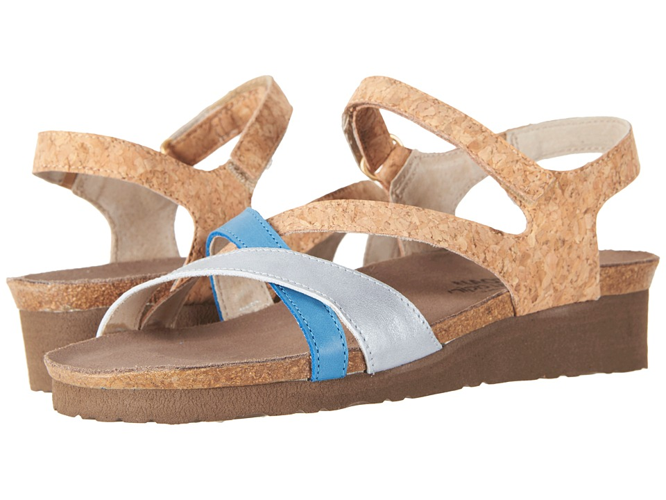 Naot - Sophia (Gold Cork Leather/Ice Blue Leather/Vintage Blue Leather) Women's Sandals