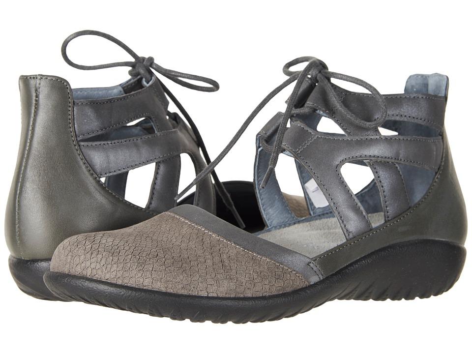Naot - Kata (Gray Iguana Nubuck/Shadow Gray Nubuck/Tin Gray Leather) Womens Shoes