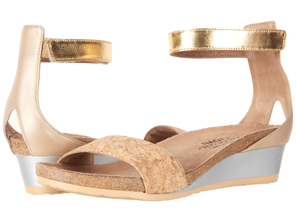 Naot - Pixie (Gold Cork Leather/Champagne Leather/Gold Leather) Women's Sandals