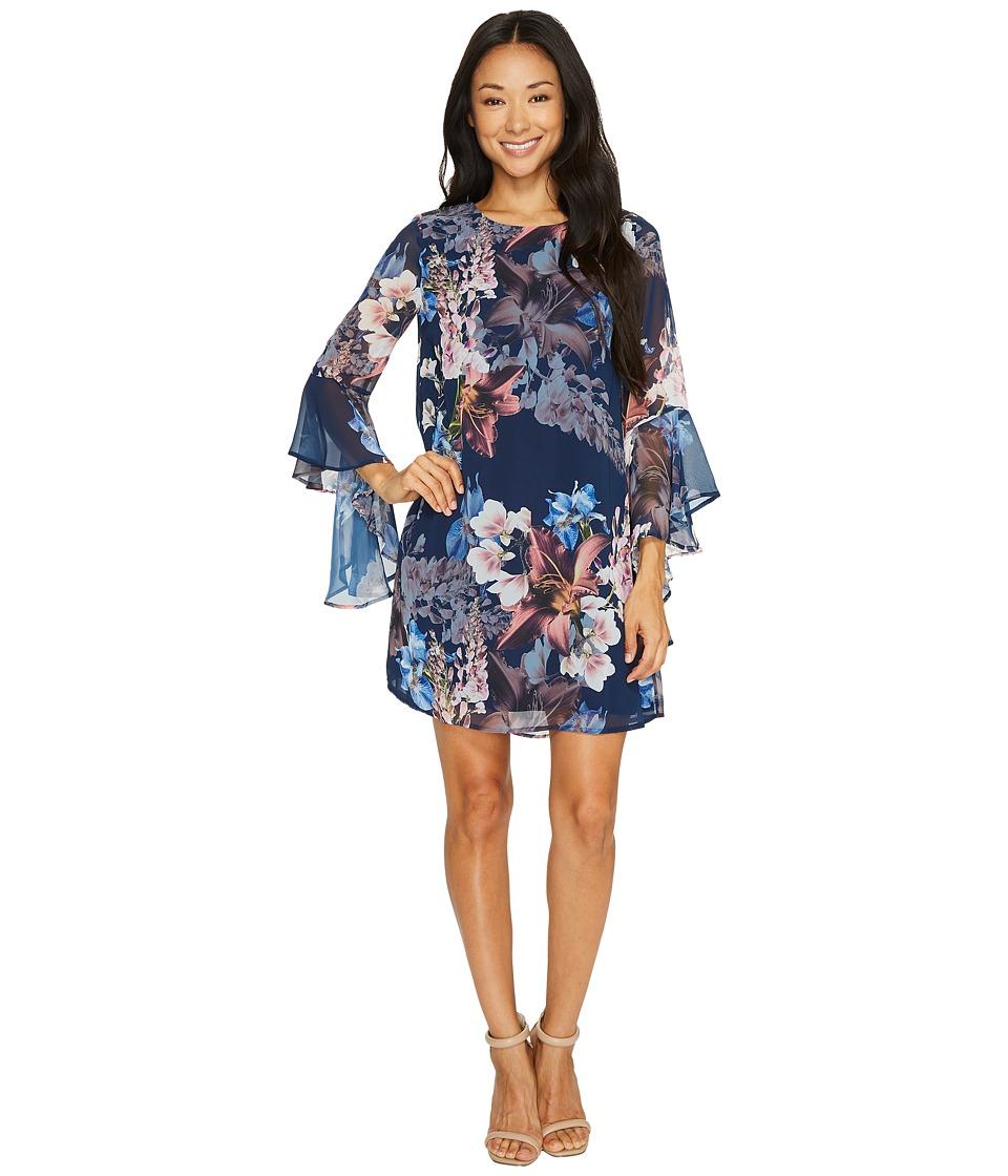 CeCe Ashley Bell Sleeve Blooms Dress (Midnight Bloom) Women