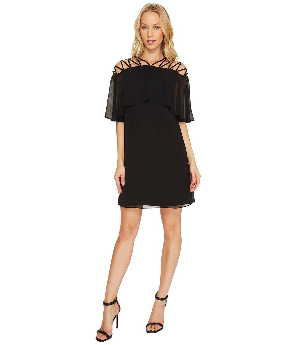 CeCe Taylor Popover Lattice Chiffon Dress (Rich Black) Women