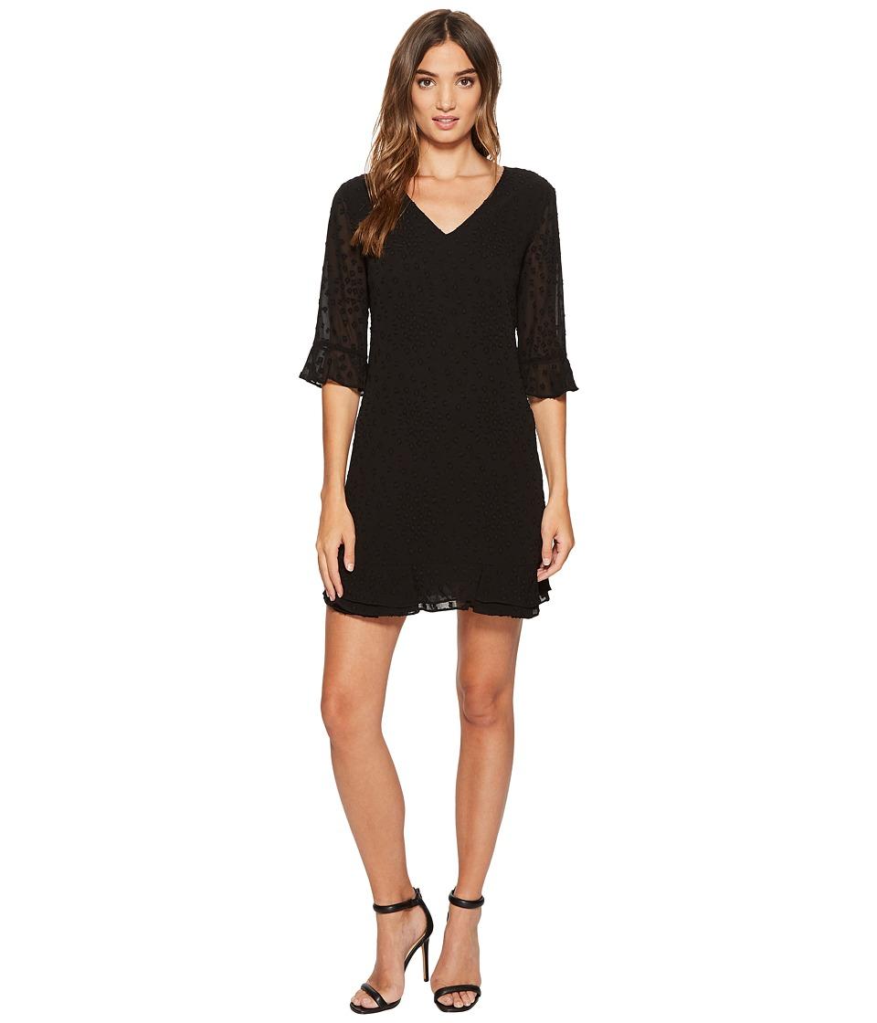 CeCe Kate 3/4 Sleeve Clip Chiffon Ruffle Dress (Rich Black) Women