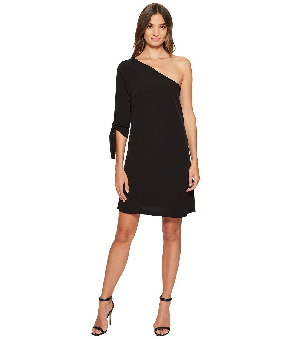 CeCe Sophia Tie Sleeve One Shoulder Dress (Rich Black) Women