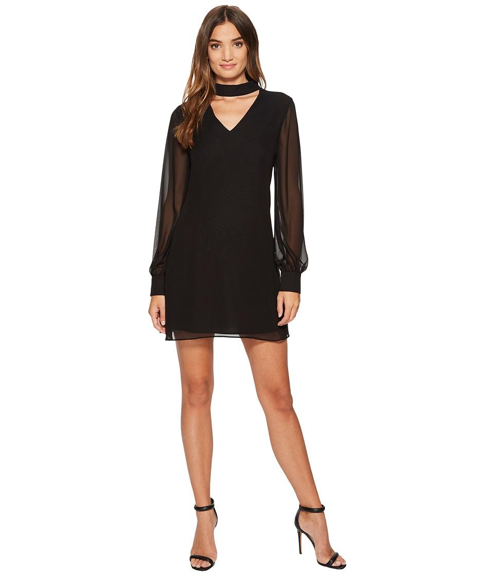 CeCe Zoey Long Sleeve Bar Neck High-Low Dress (Rich Black) Women